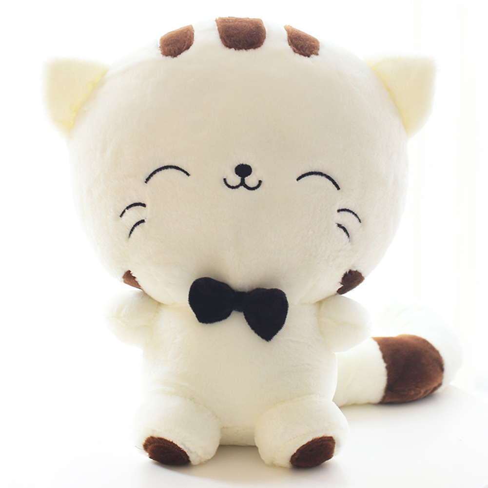 Cat Plush Toy Cute Cartoon Cat Plush Stuffed Toy Big Tail Fat Face Cat Doll Lovely Pillow Plush Toy Valentines Christmas Birthday Gift Style Cream Color