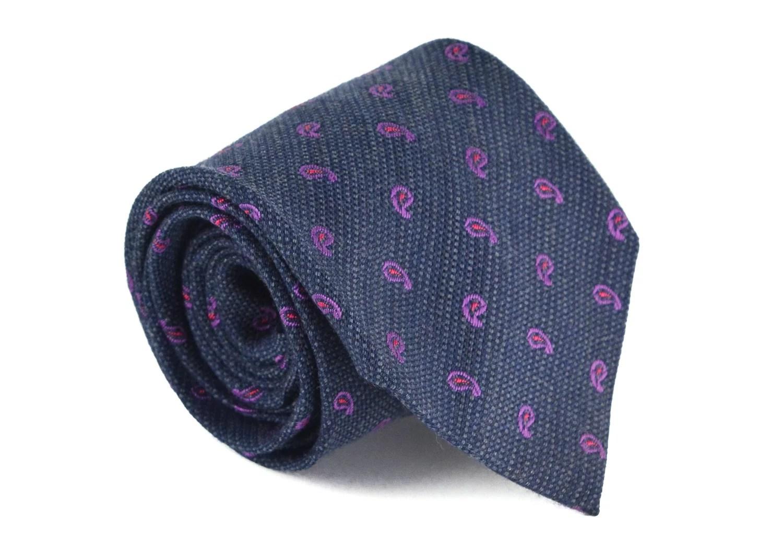 Etro Mens Grey 53 Wool 47 Silk Paisley Printed 325 In