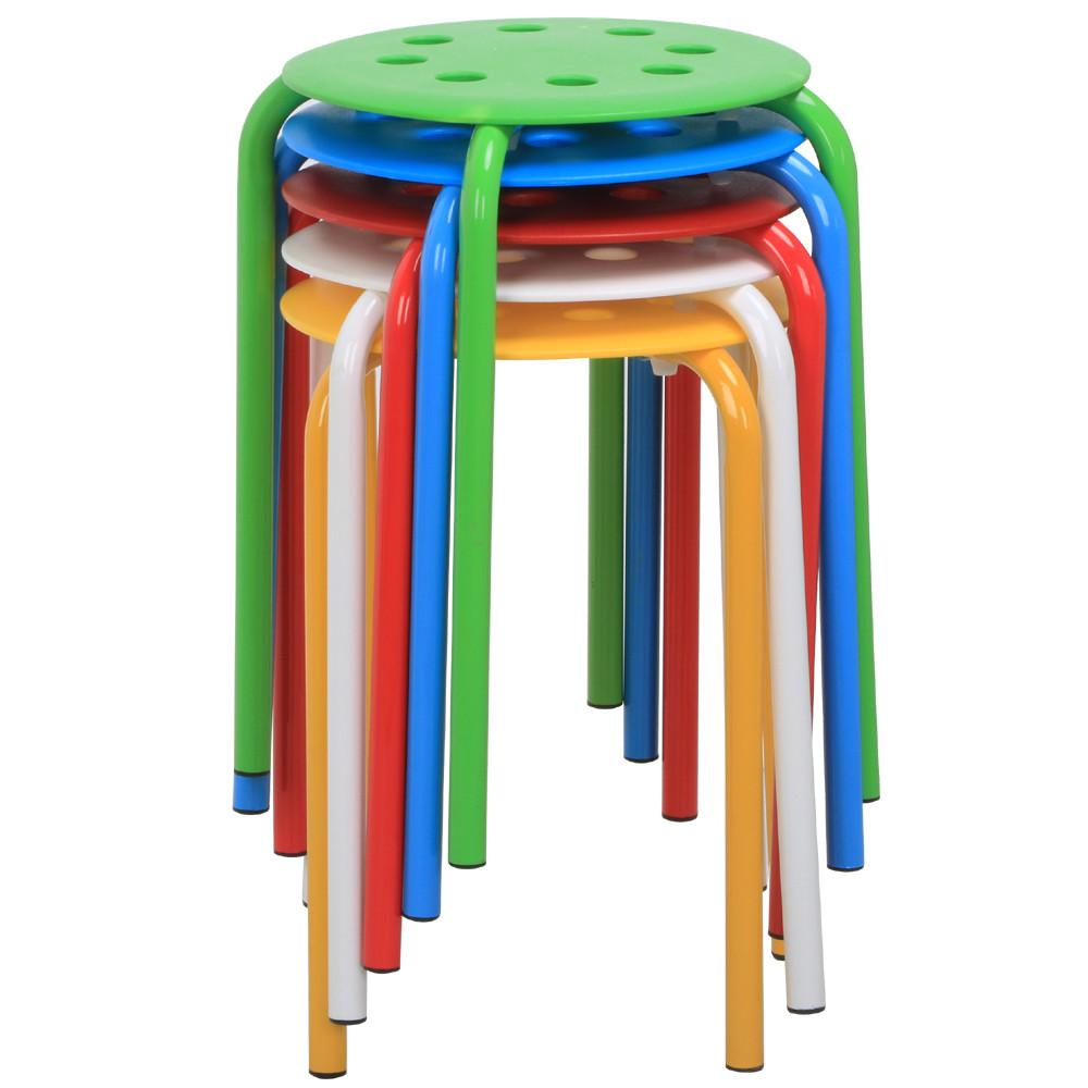 Portable Stool Yaheetech 5 Color Portable Plastic Stackable Stools Round Top Backless Armless Bar Stools Set