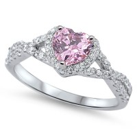 Heart Pink CZ Halo Promise Ring ( Sizes 4 5 6 7 8 9 10 11 ...