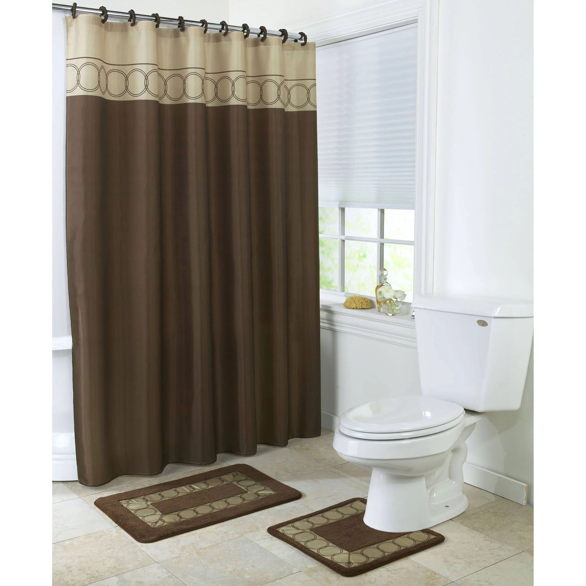 Vcny home lily butterfly 15 piece polyester bath in a bag set shower curtain and bath rugs included walmart com