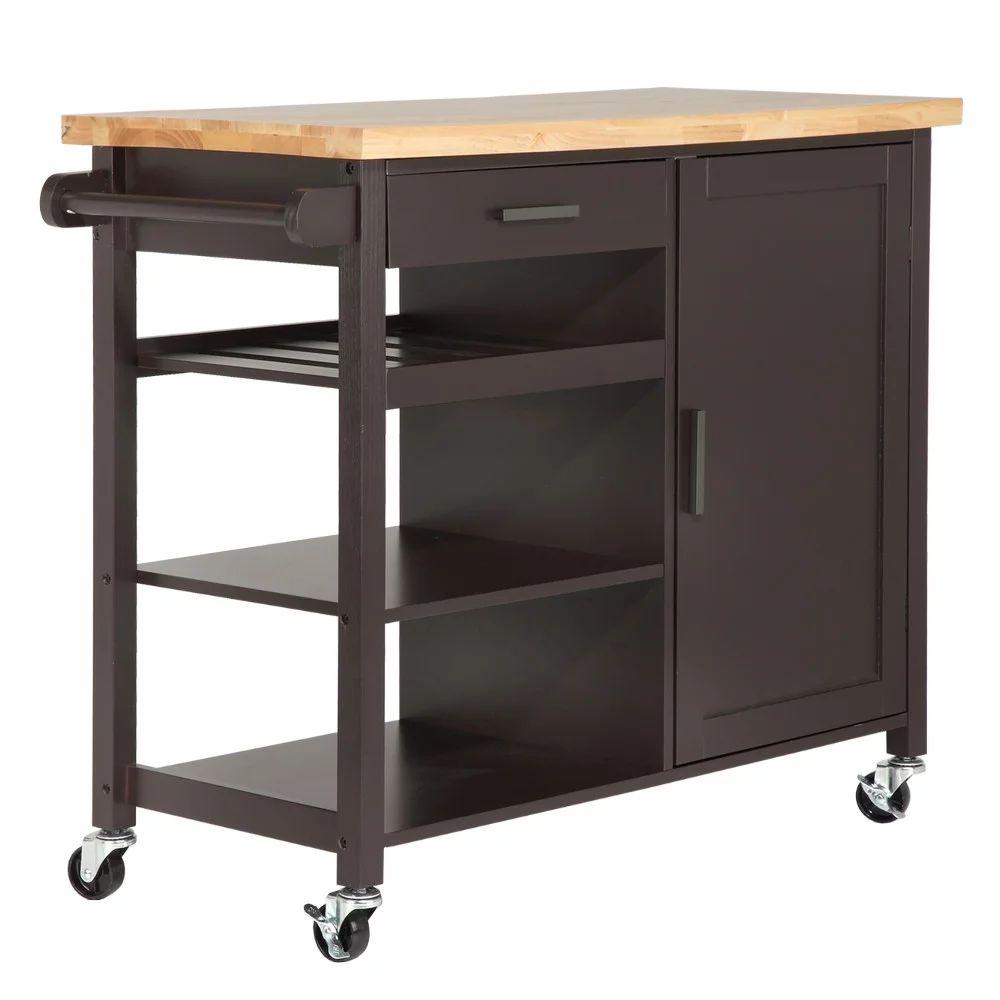Homegear utility kitchen storage cart island with rubberwood cutting block brown walmart com