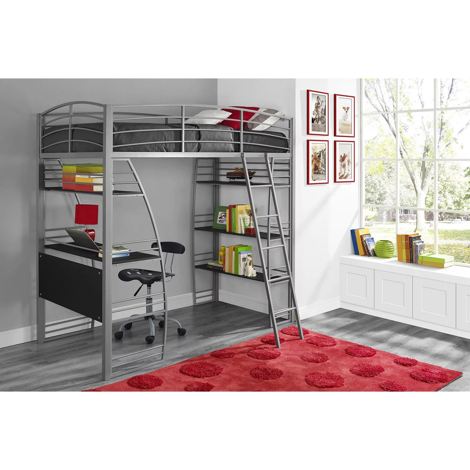 Bed With Desk Dorel Dhp Studio Twin Metal Loft Bed With Desk And Shelves Silver