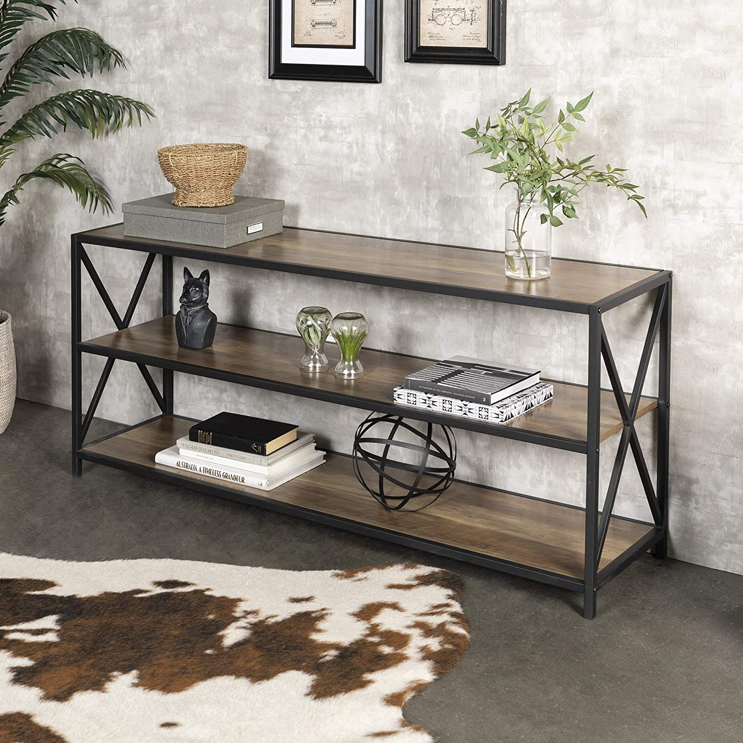 Walker Edison Furniture Company 2 Shelf Industrial Wood Metal Bookcase Bookshelf Storage 60 Inch Brown Reclaimed Barnwood Walmart Com Walmart Com