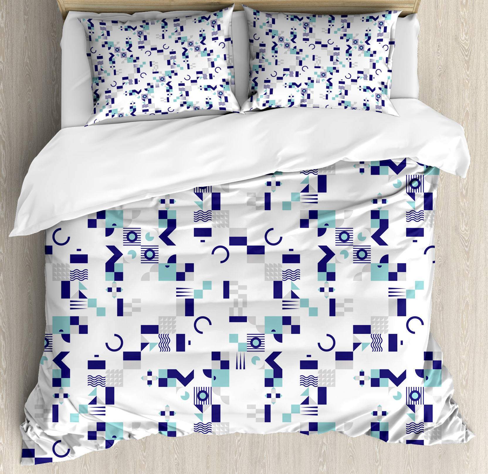 King Duvet Mid Century King Size Duvet Cover Set Art Deco Inspired Pattern From Seventies With Geometrical Shapes Decorative 3 Piece Bedding Set With 2 Pillow