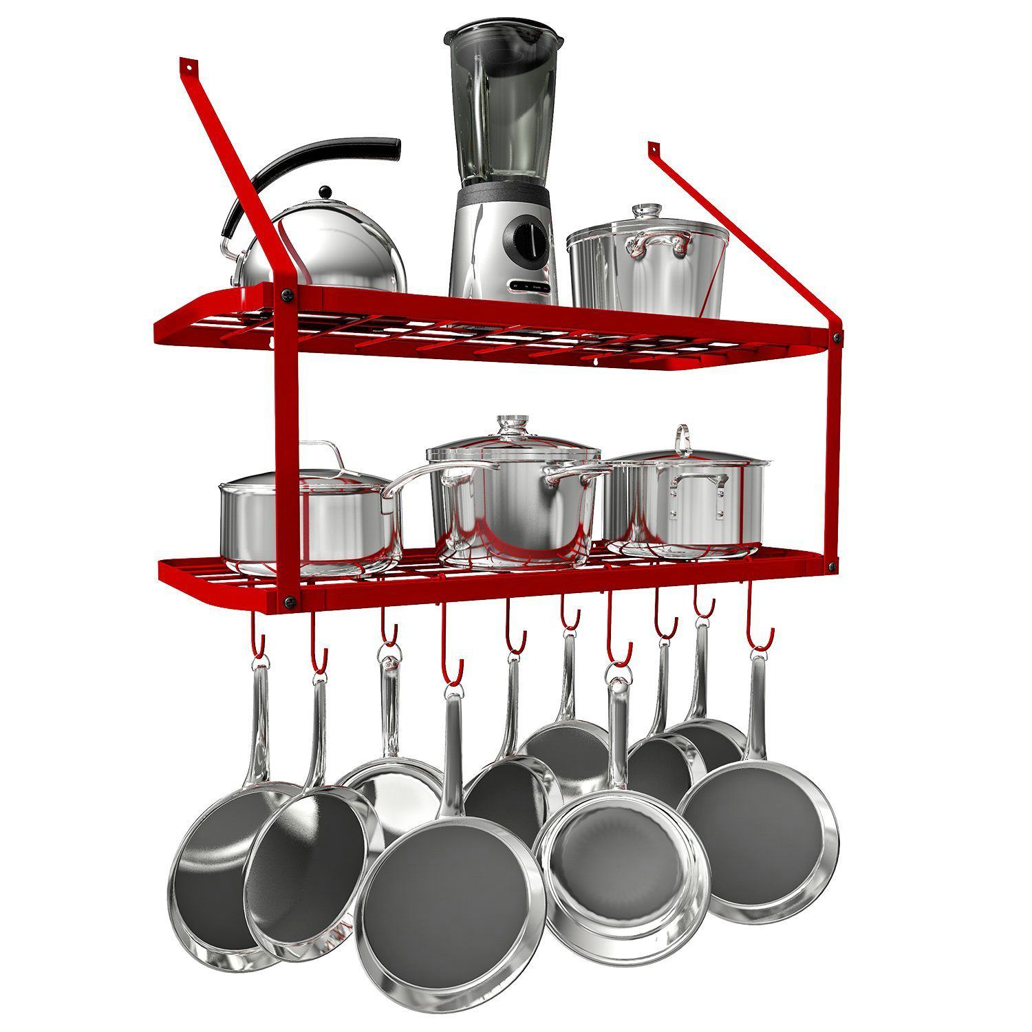 Wall Mounted Pots Vdomus Pots And Pans Rack Wall Mounted Hanging Pot Shelf