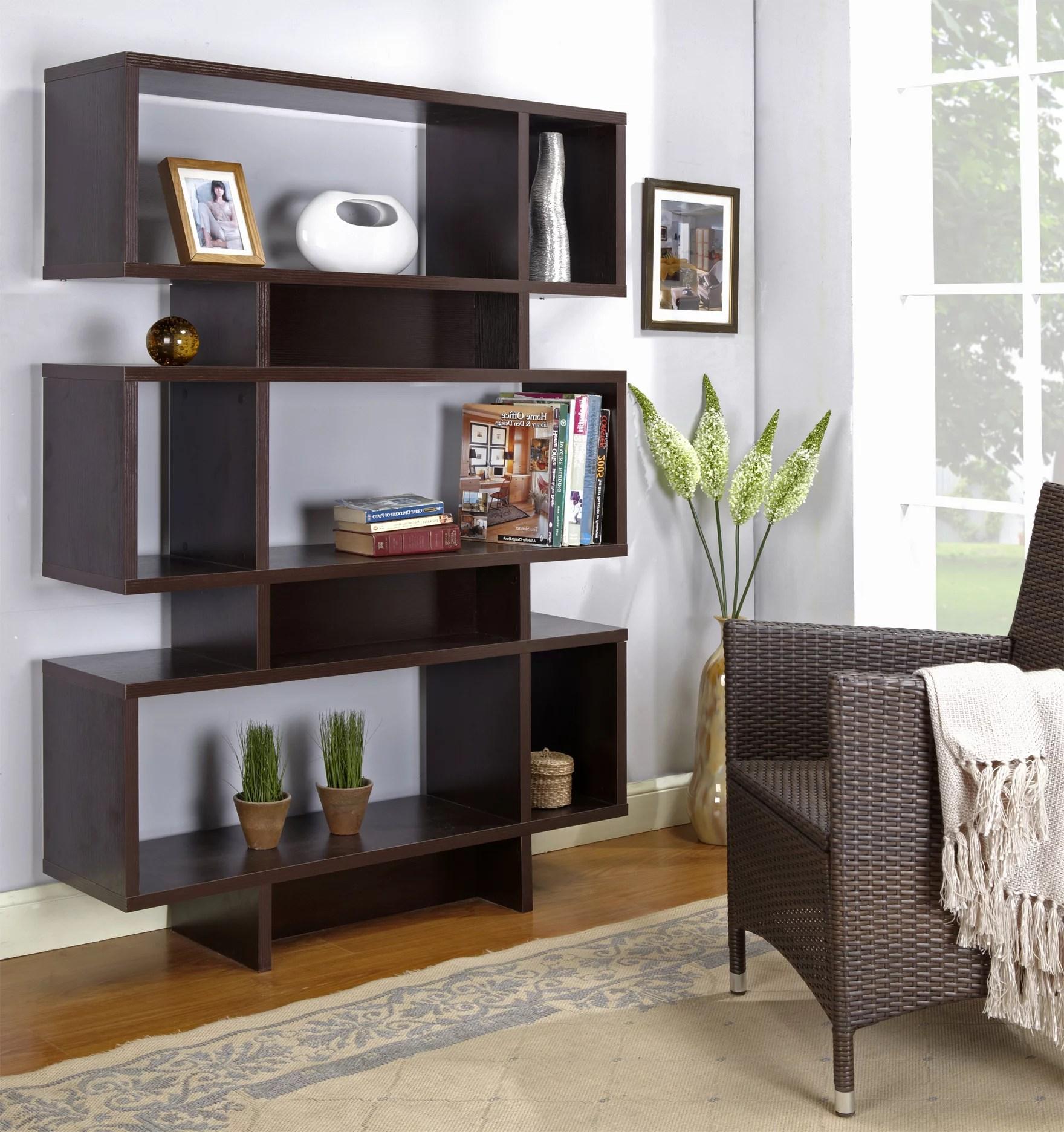 Espresso Wood 12 Cube 5 Tier Bookcase Display Shelves