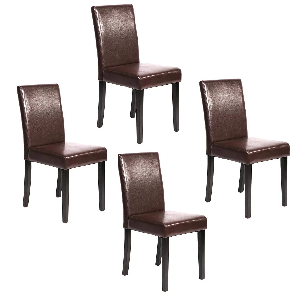 Set Of 4 Brown Leather Contemporary Elegant Design Dining Chairs Home Room Walmart Com Walmart Com