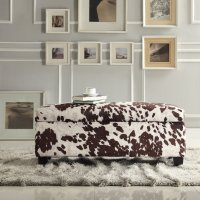 Azteca Cow Hide Print Storage Bench, Multiple Colors