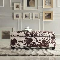 Azteca Cow Hide Print Storage Bench, Multiple Colors ...