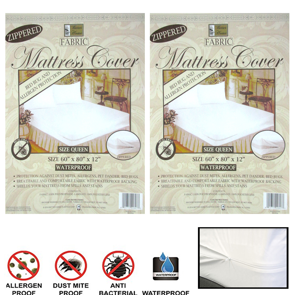 Bed Bug Protection Cover 2 Queen Size Zippered Mattress Cover Waterproof Bed Bug Dust Mite Protect Fabric