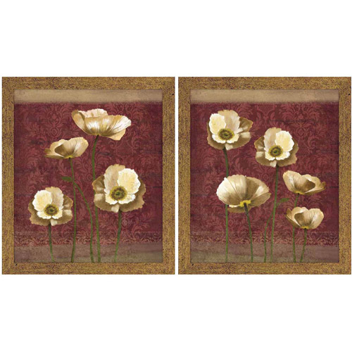 Burgundy and Gold Floral Wall Art, Set of 2