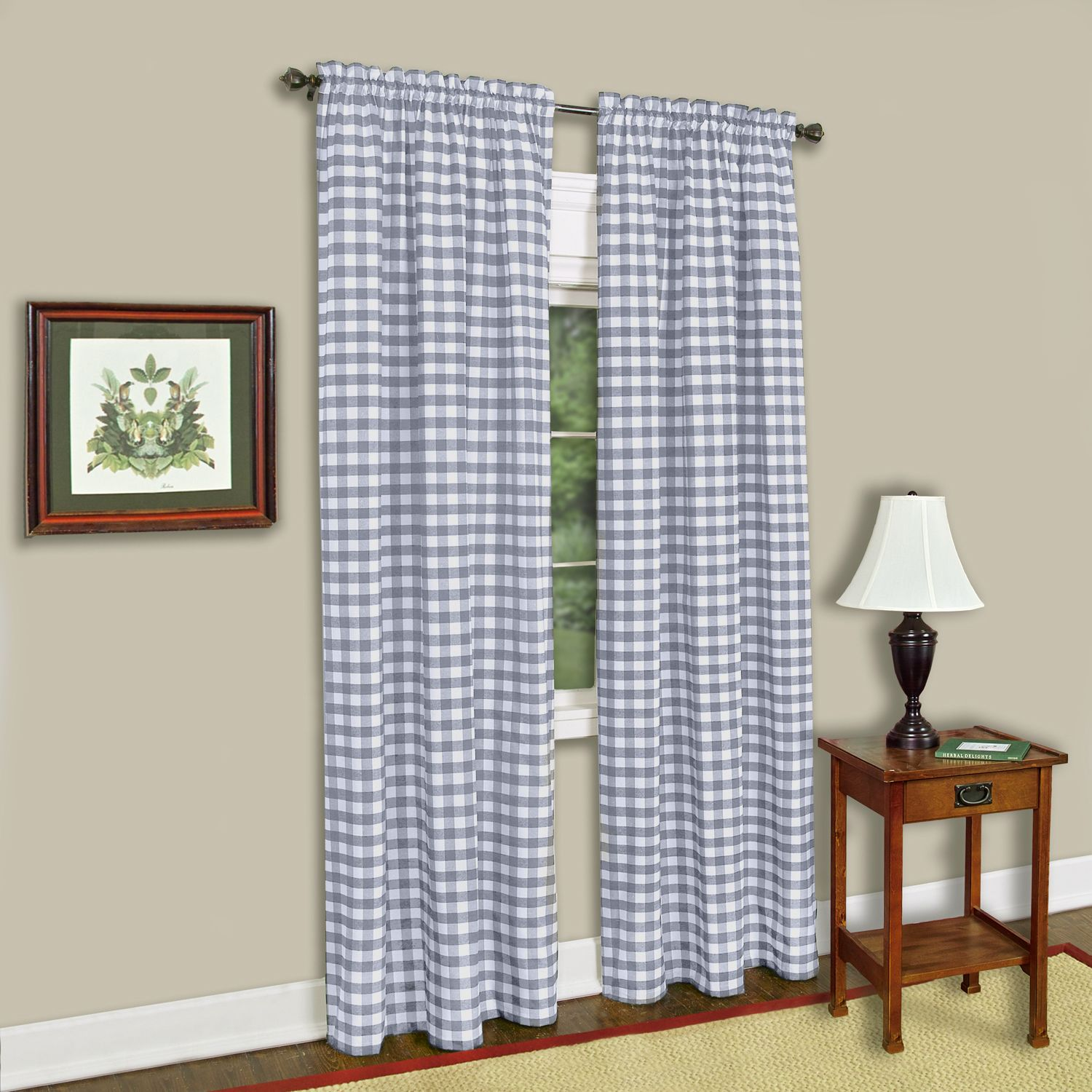 Grey And White Gingham Curtains Achim Buffalo Check Window Curtain Panel Walmart