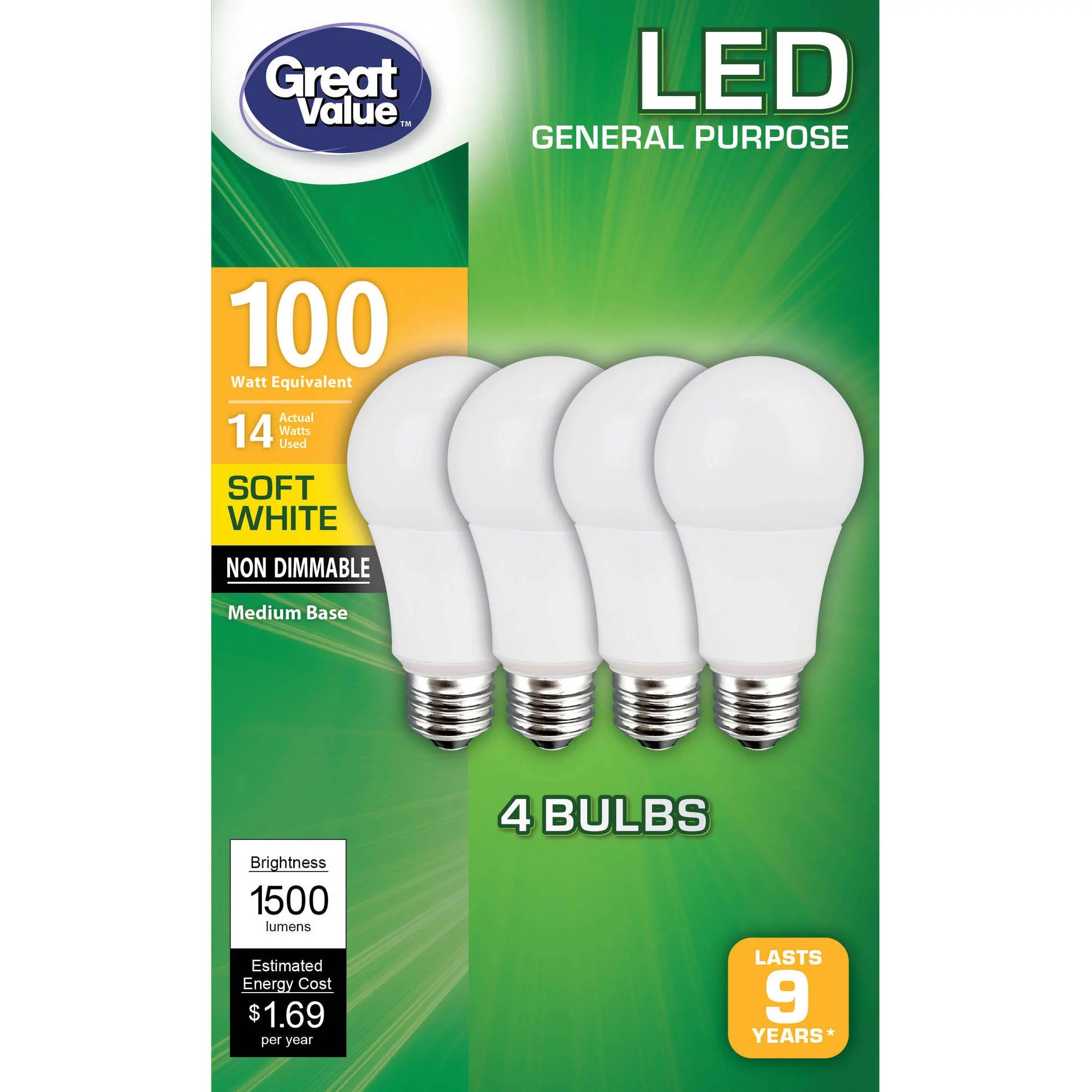 Led Lights At Walmart Great Value General Purpose Led Light Bulbs 14w 100w Equivalent Soft White Non Dimmable 4 Count