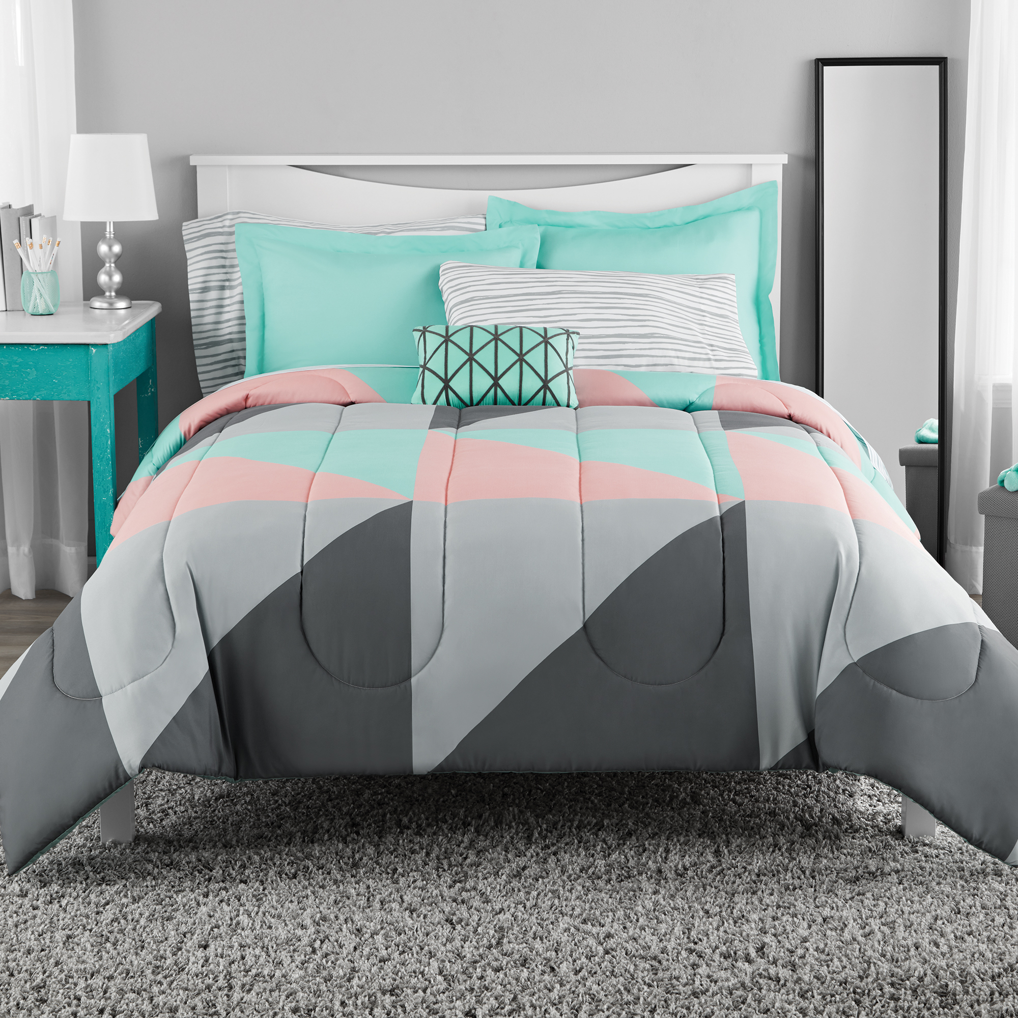 Teal Pictures Bedroom Mainstays Grey Teal Bed In A Bag Bedding Set Queen