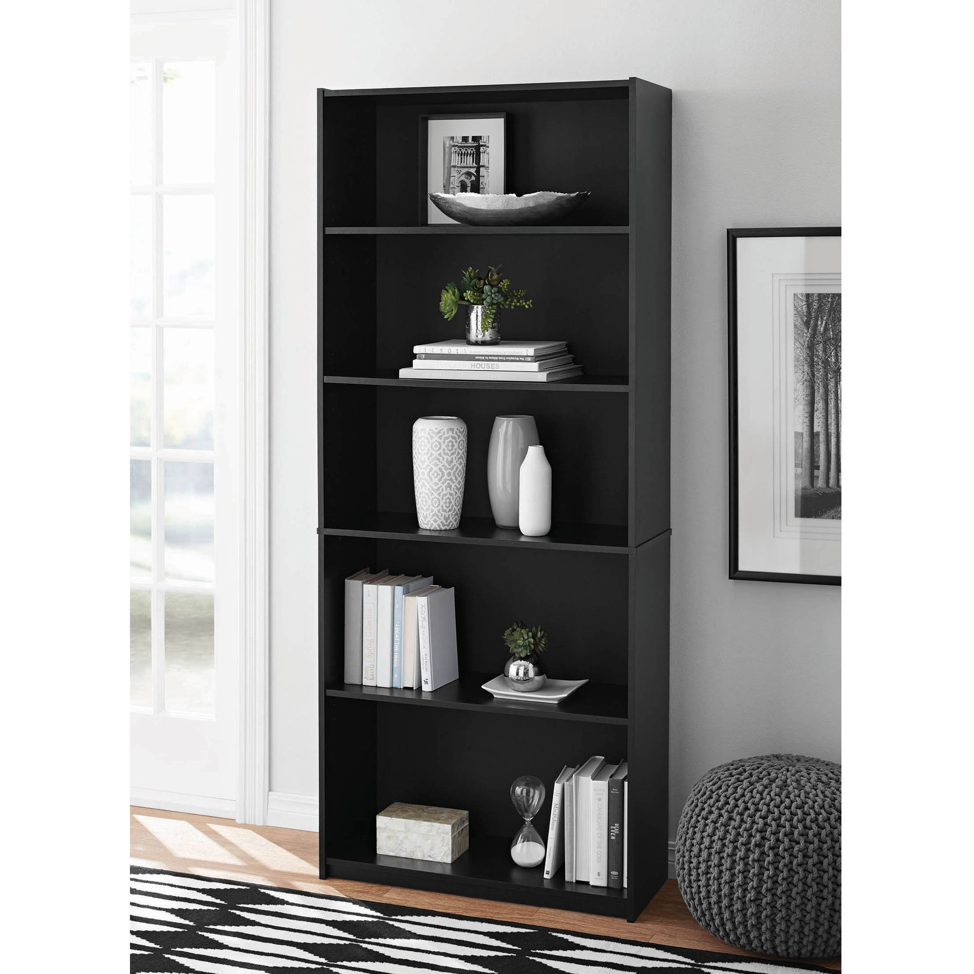 Adjustable 5 Shelf Wood Bookcase Storage Shelving Book