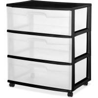 Plastic Storage Cabinet 3 Drawer Sterilite Wide Rolling ...