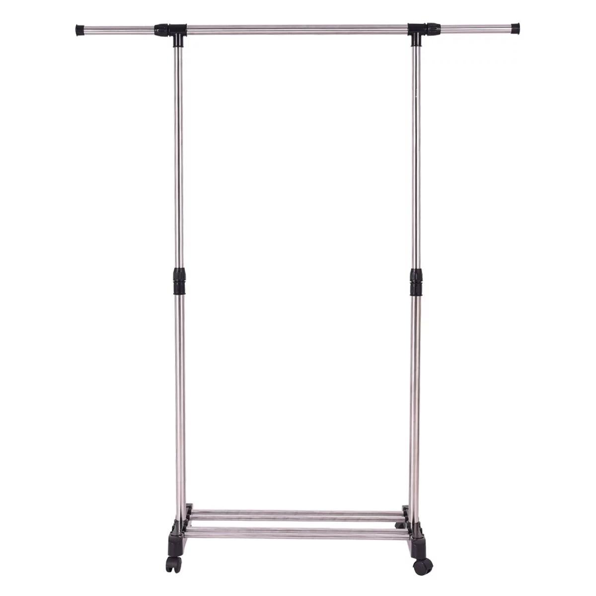 Gymax Portable Rolling Garment Rack Closet Organizer Shelf