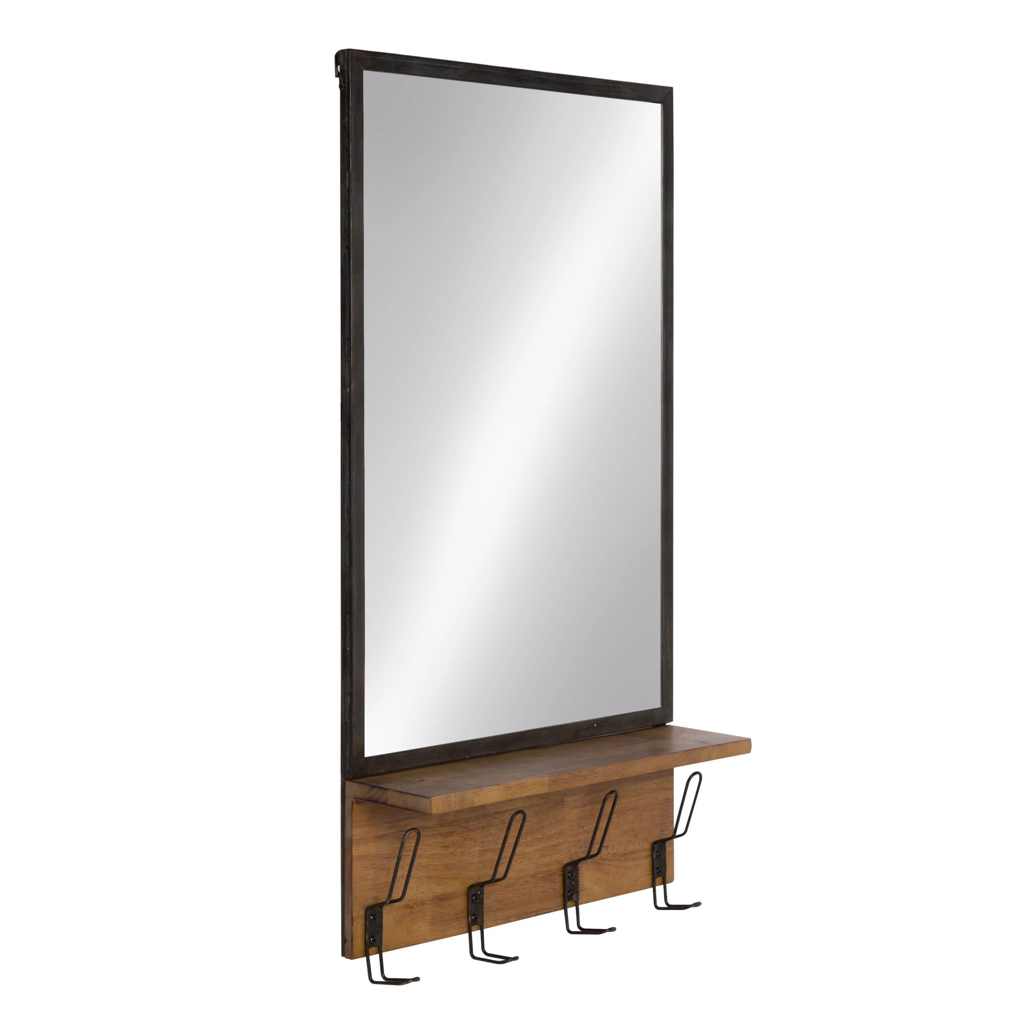 Metal Wall Mirror With Shelf Kate And Laurel Coburn Distressed Metal Mirror With Wood