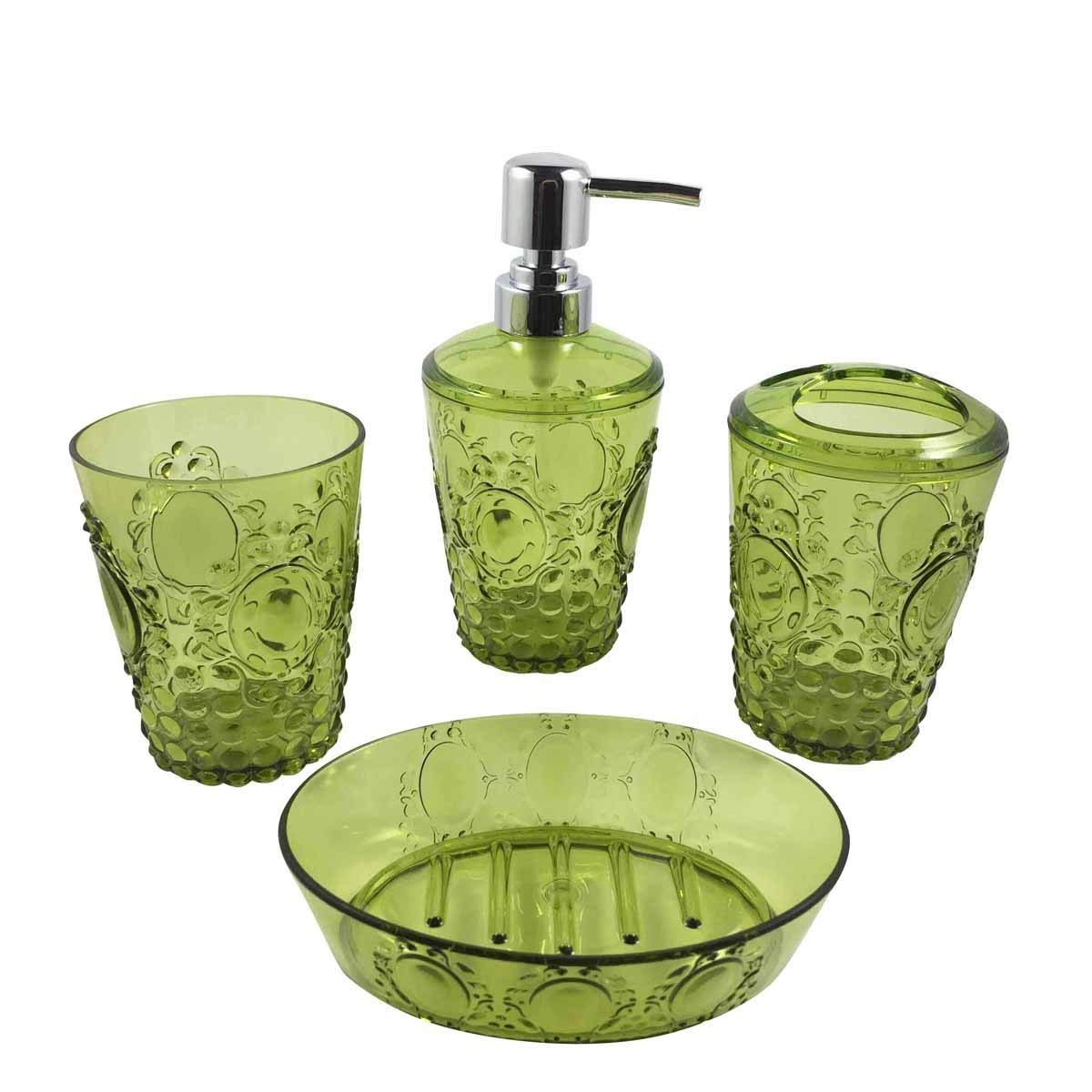 Bathroom Dispenser Set Hampton Acrylic Bathroom Accessories Set Of 4 Piece Features Soap Dispenser Pump Toothbrush Holder Tumbler Soap Dish Green