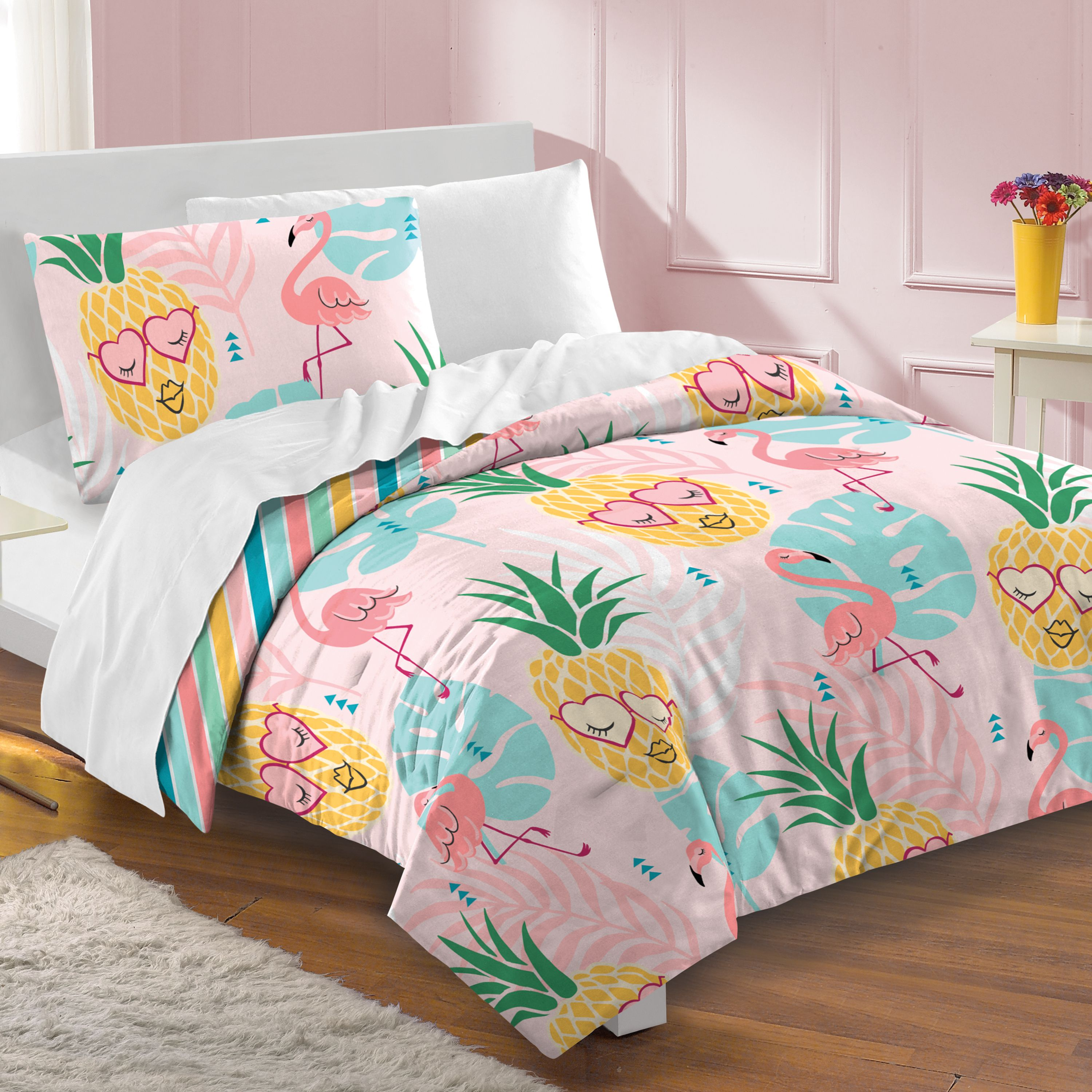 Girls Bedding Pineapple Flamingo Twin Comforter Set 3pc For Girls Pink