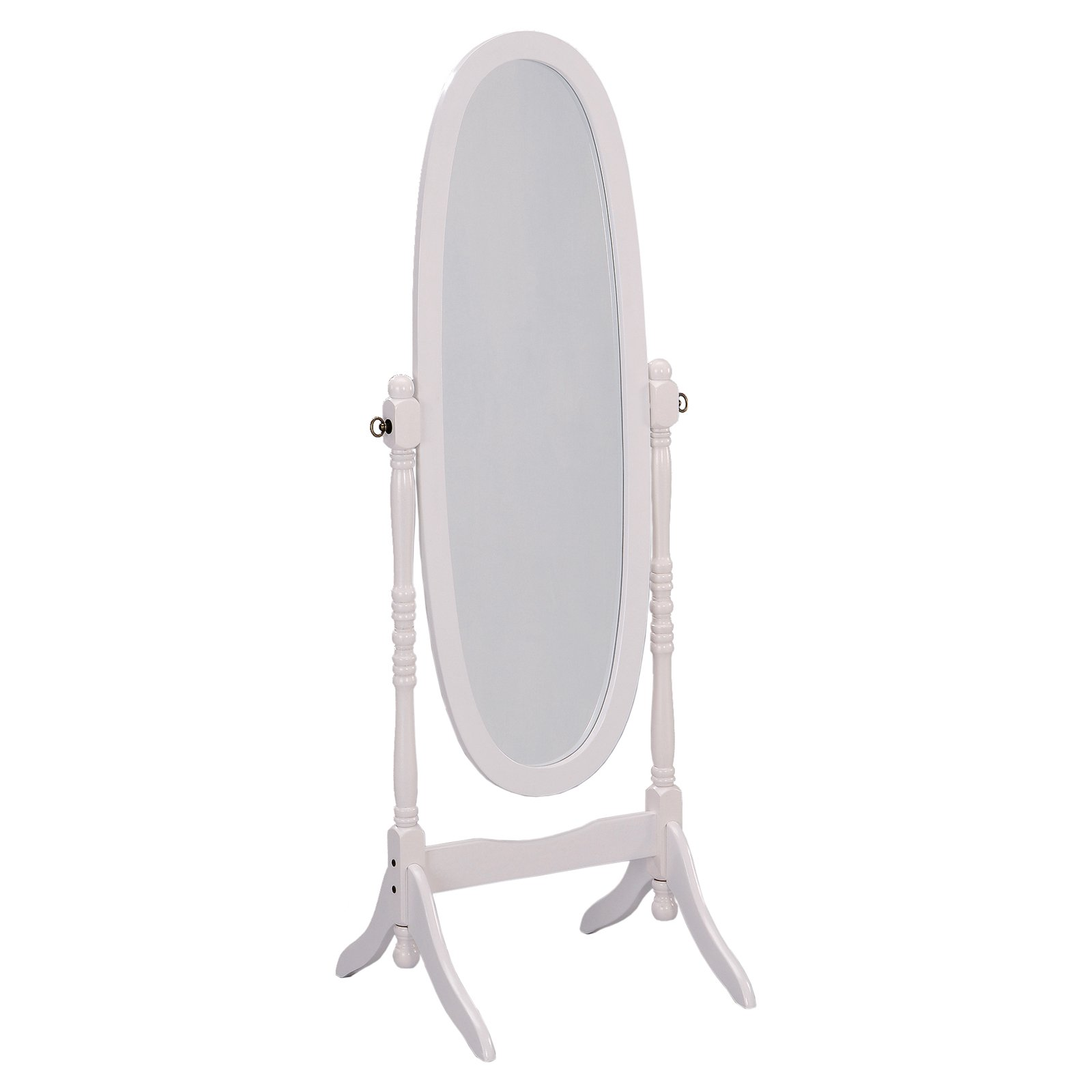 Standing Mirror Ore International White Finish Oval Wood Cheval Floor Standing Mirror 59 5