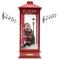 Snow Blowing Christmas Indoor Lantern Music Box Santa