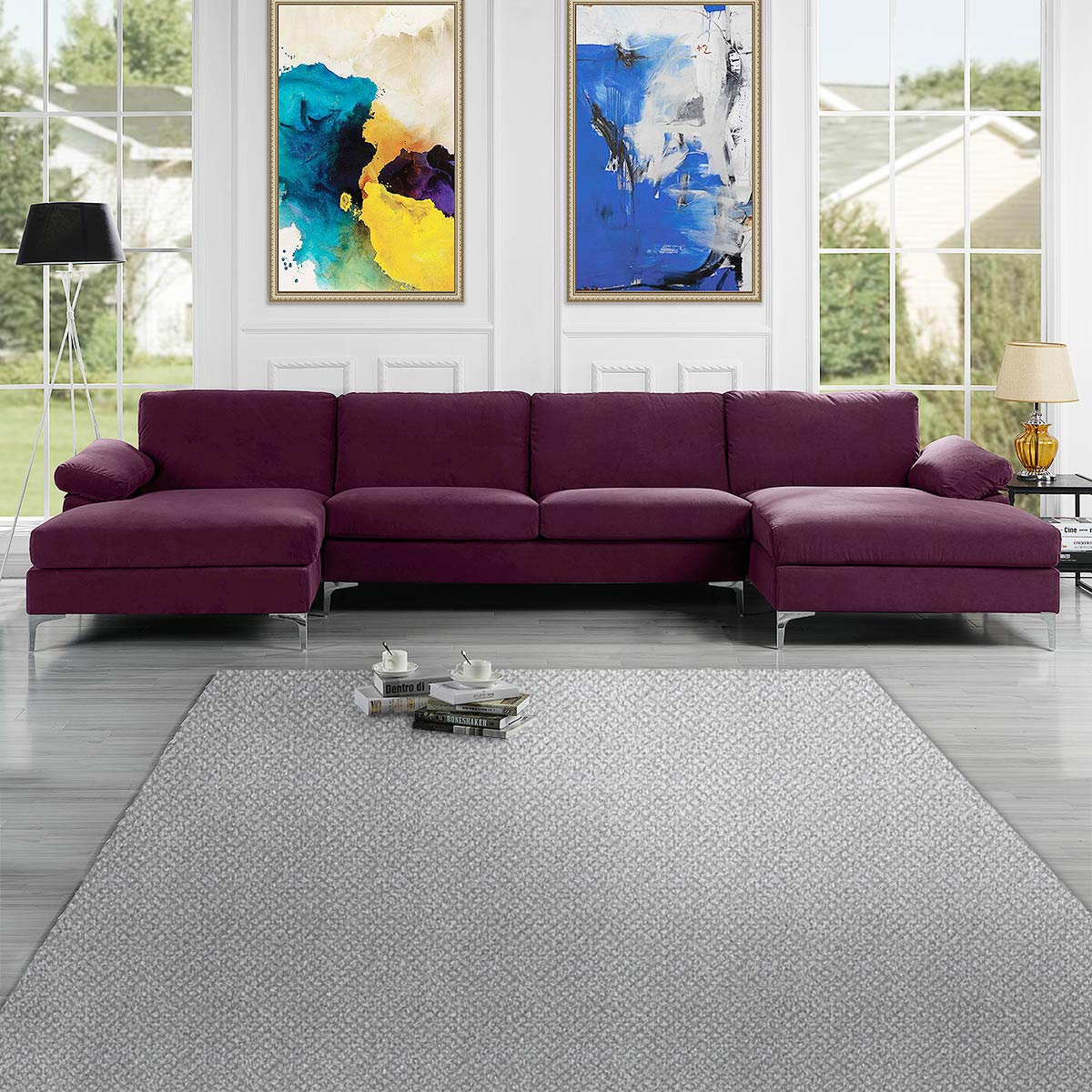 Mobilis Modern Large Microfiber Velvet Fabric U Shape Sectional Sofa With Double Extra Wide Chaise Lounge Purple Walmart Com Walmart Com