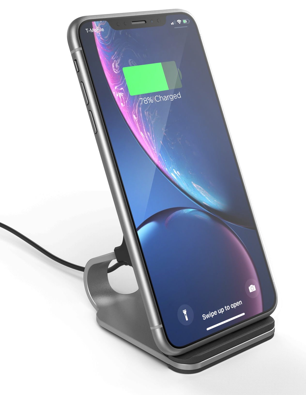 Iphone Cordless Charger Encased Wireless Charging Stand For Iphone Xr Wireless Charger 2018 Qi Compatible Desktop Phone Power Station Silver