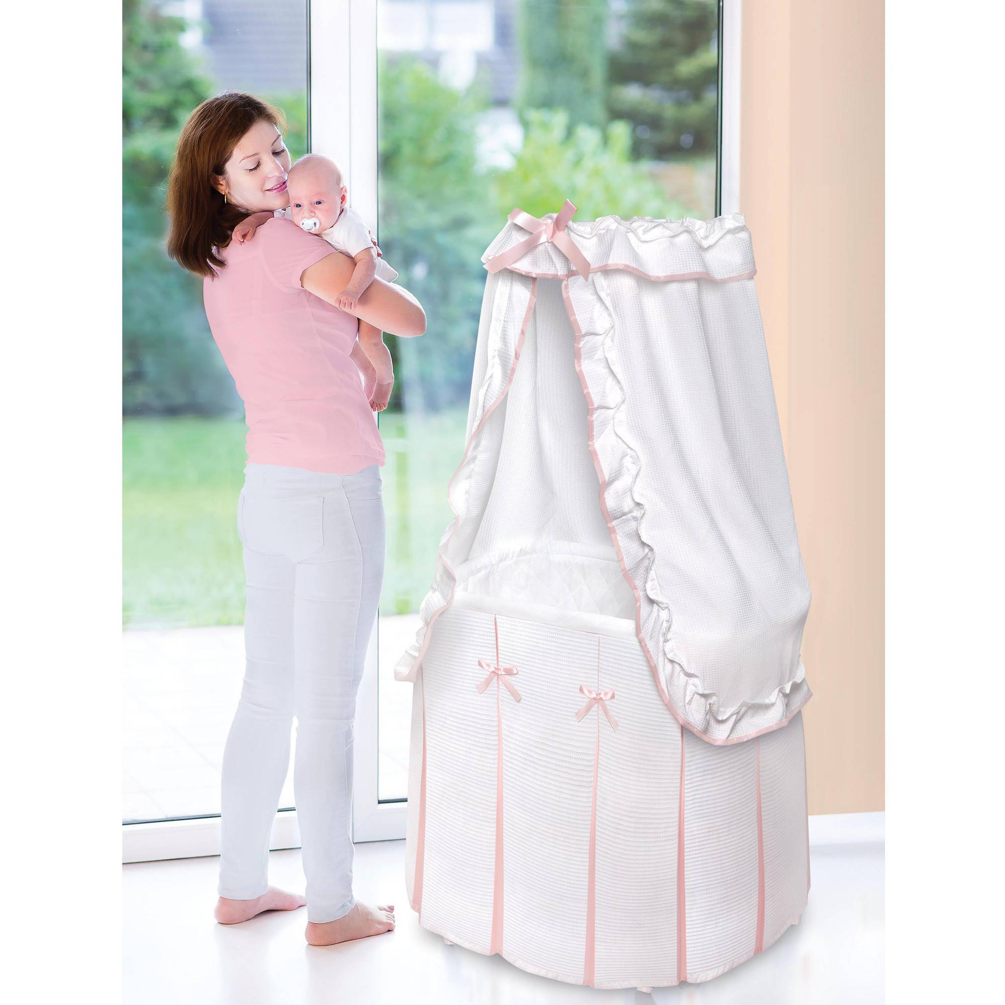 Baby Basket Bassinet Badger Basket Majesty Baby Bassinet With Canopy White