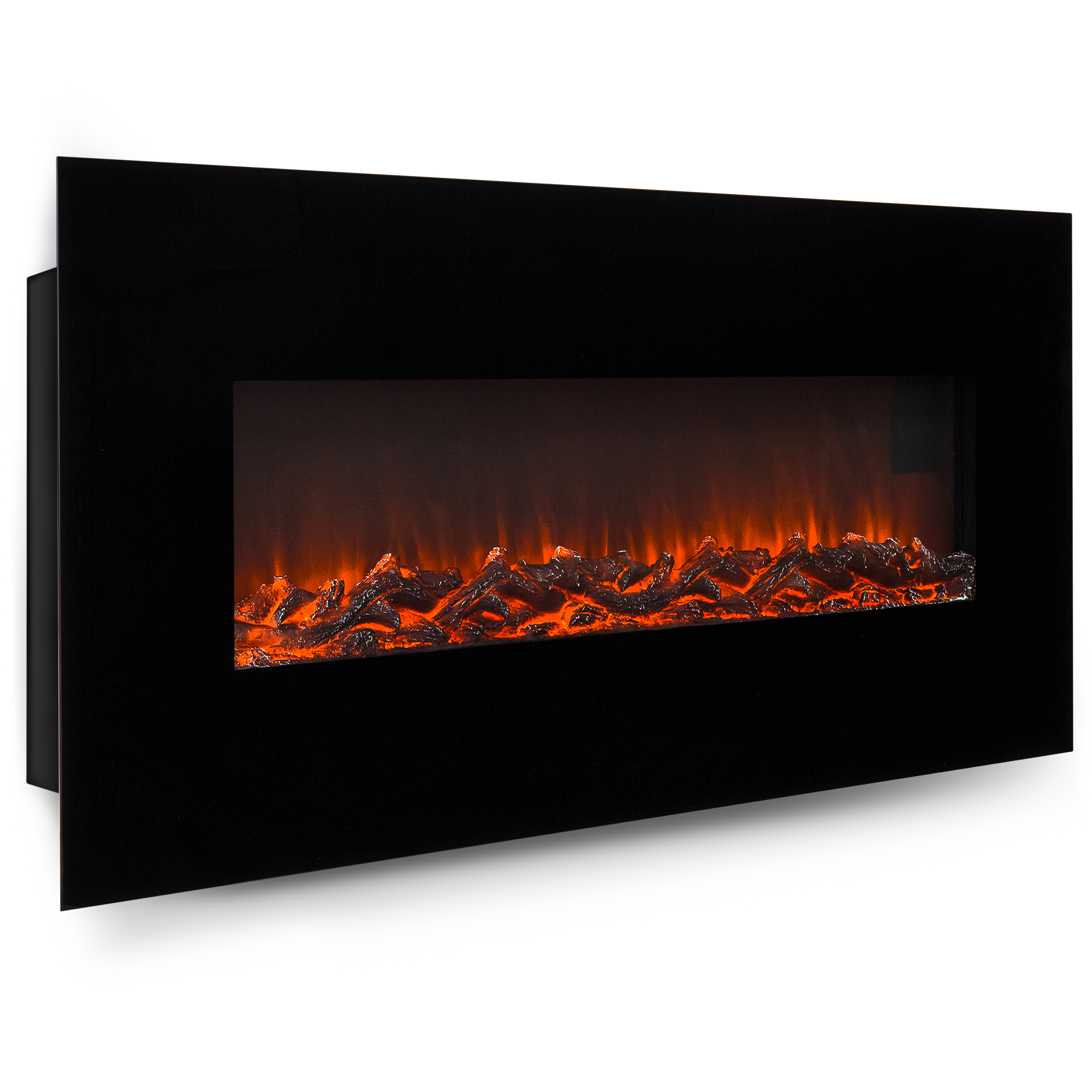 Walmart Black Electric Fireplace Best Choice Products 50in Indoor Electric Wall Mounted Fireplace Heater W Adjustable Heating Metal Glass Frame Controller Black