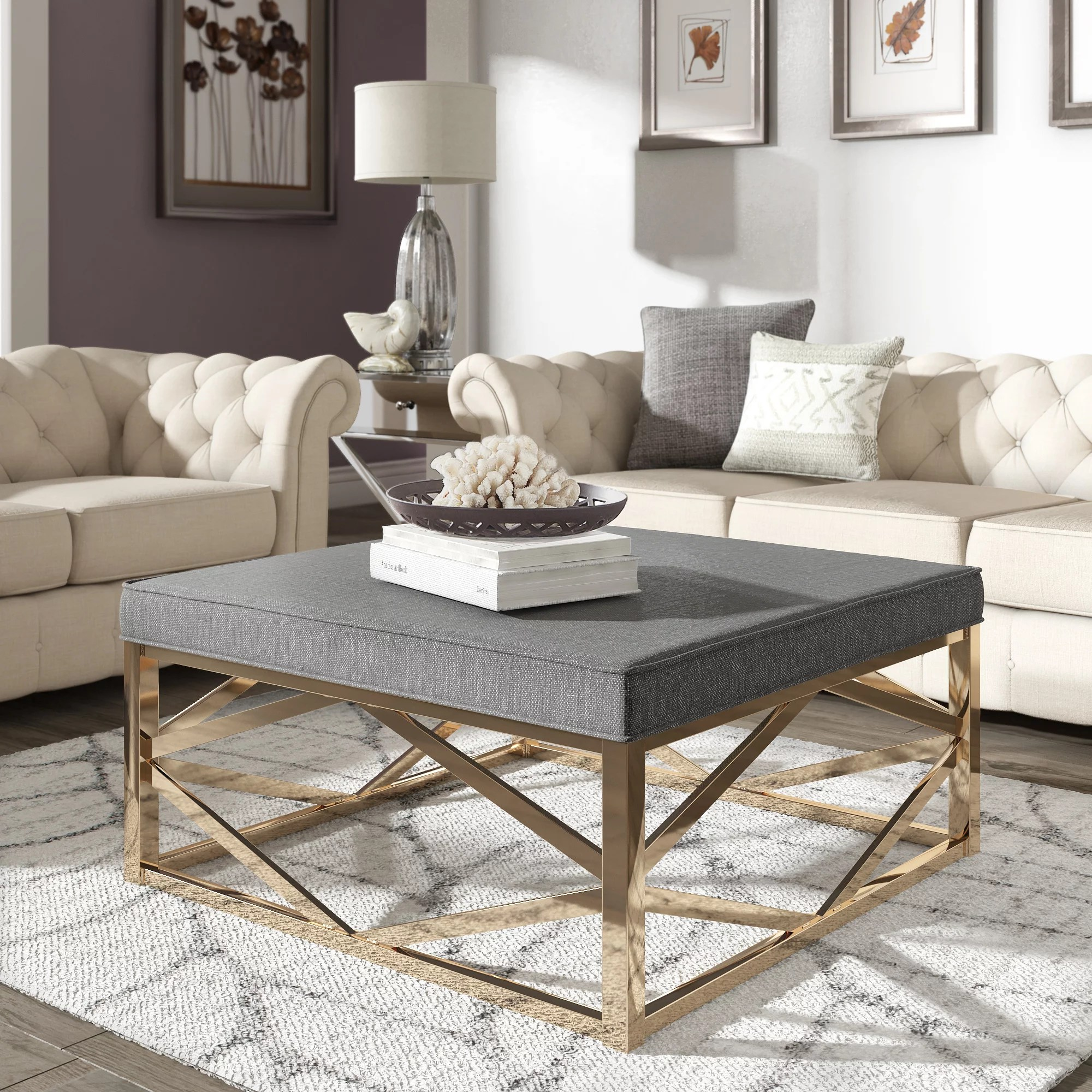 Colorful Ottoman Coffee Table Weston Home Libby Smooth Top Cushion Ottoman Coffee Table With Champagne Gold Geometric Base Multiple Colors