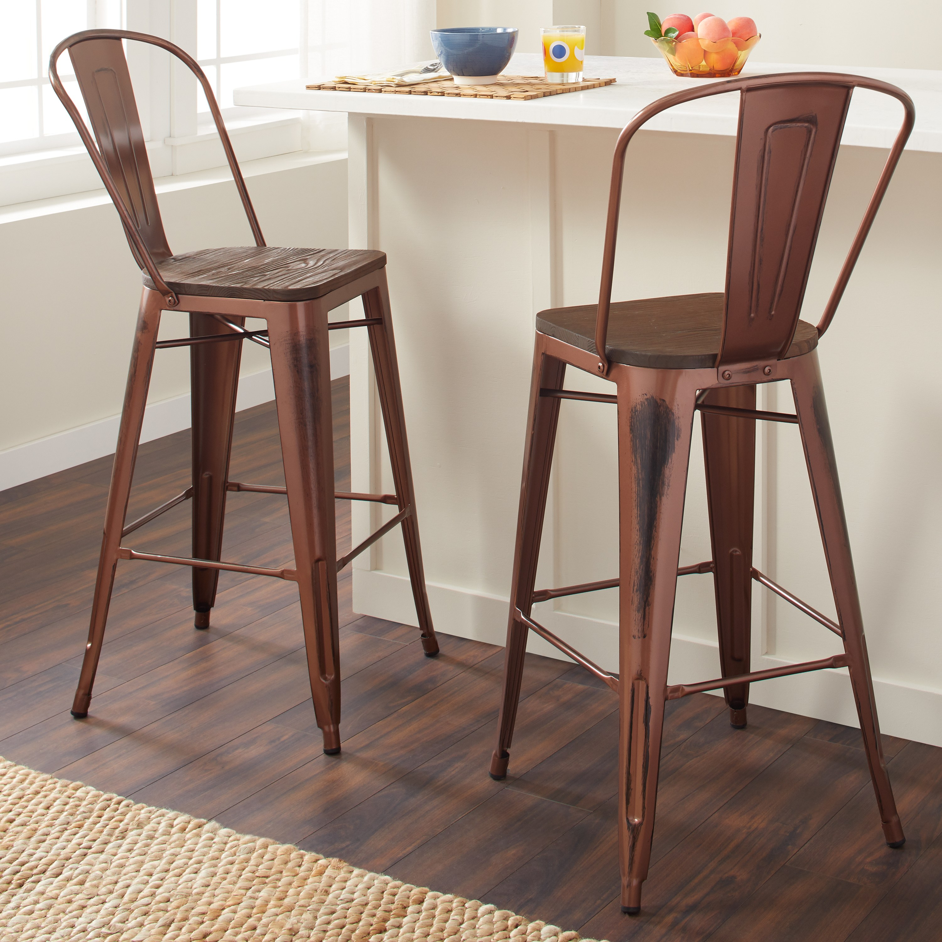 Tabourets Walmart Tabouret 30 Inch Wood Seat Brushed Copper Bistro Bar Stool Set Of 2