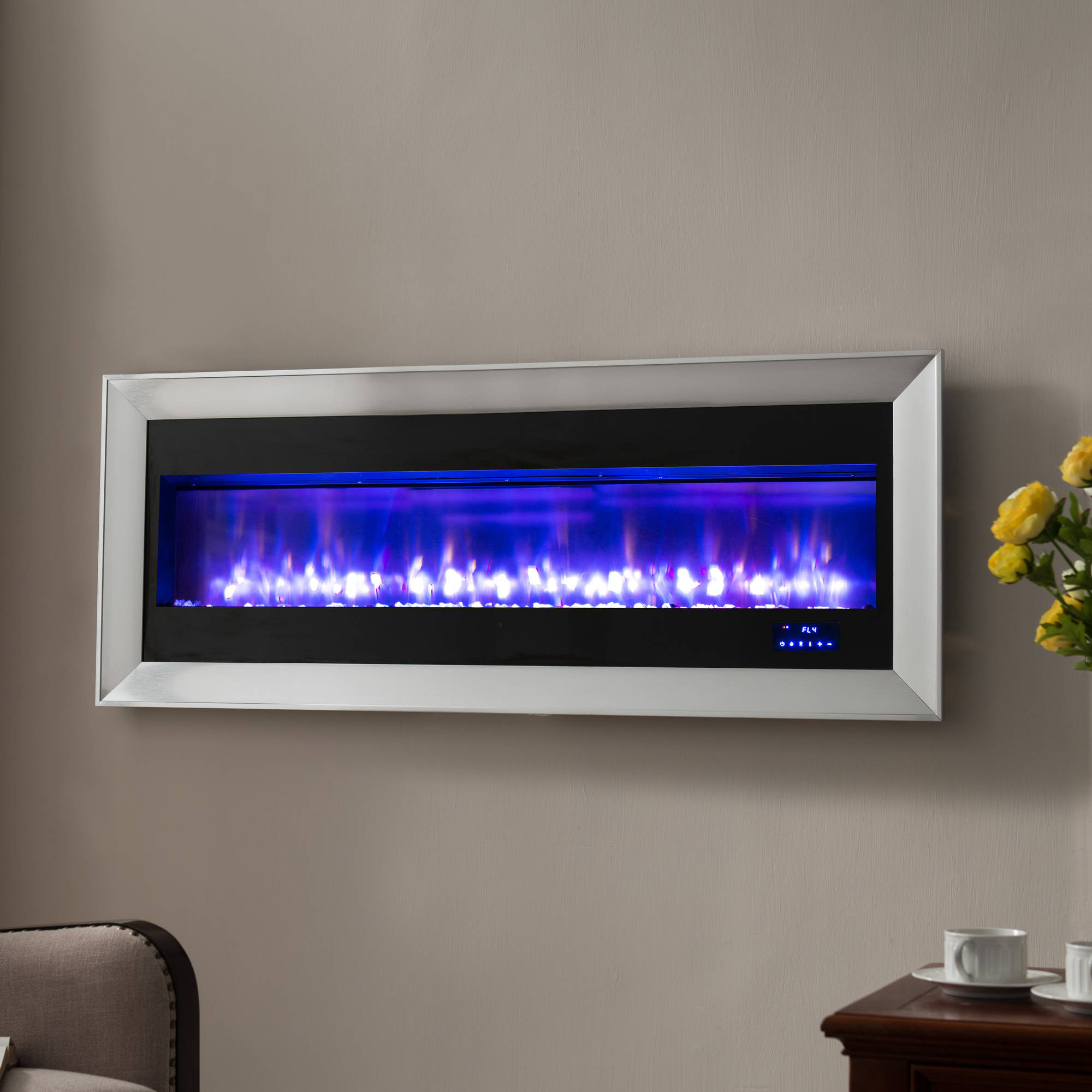 "Prokonian 63"" Wall Mounted Electric Fireplace with Space"