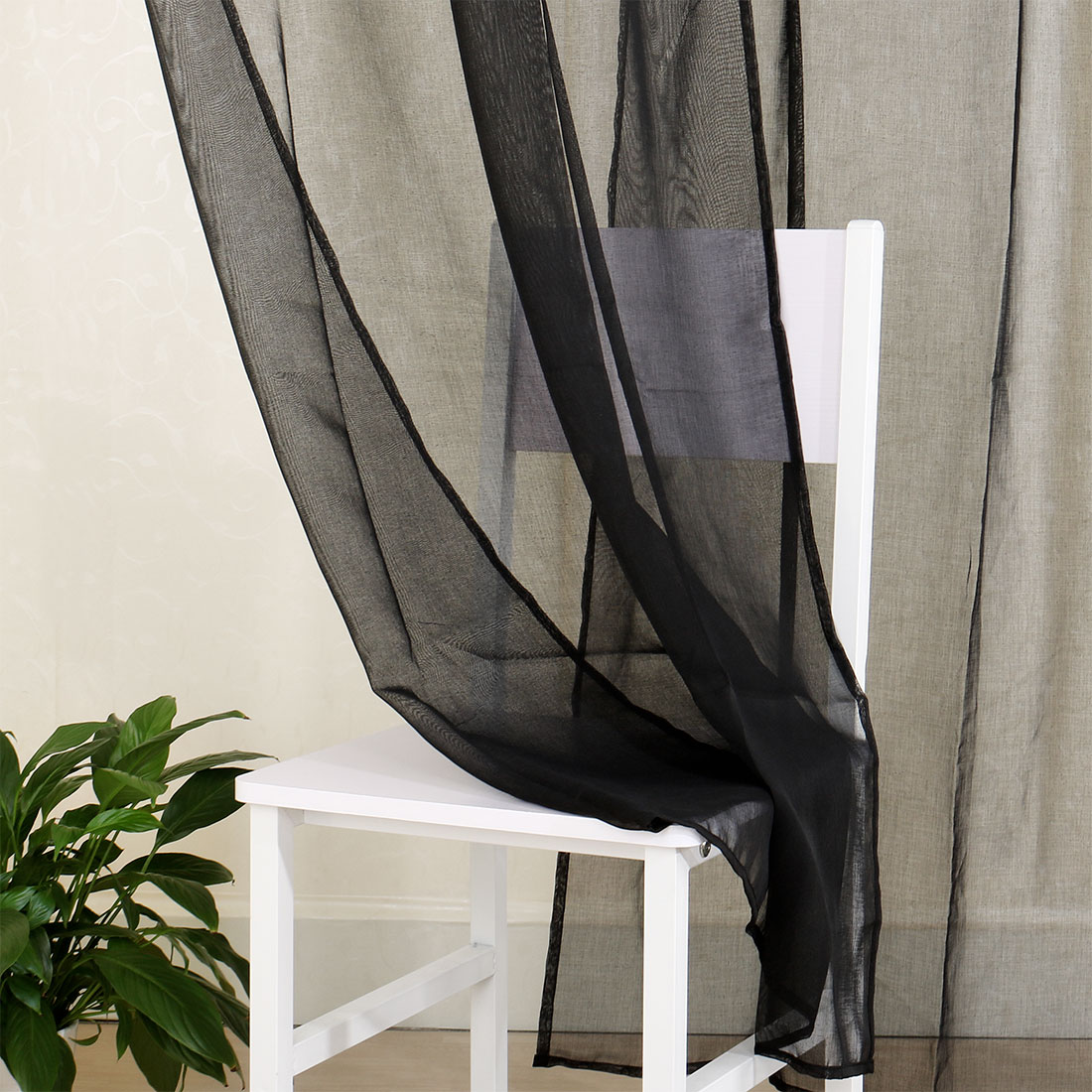 Black Voile Curtains Home High Thread Rod Pocket Sheer Voile Curtain Panel Window Curtains Black