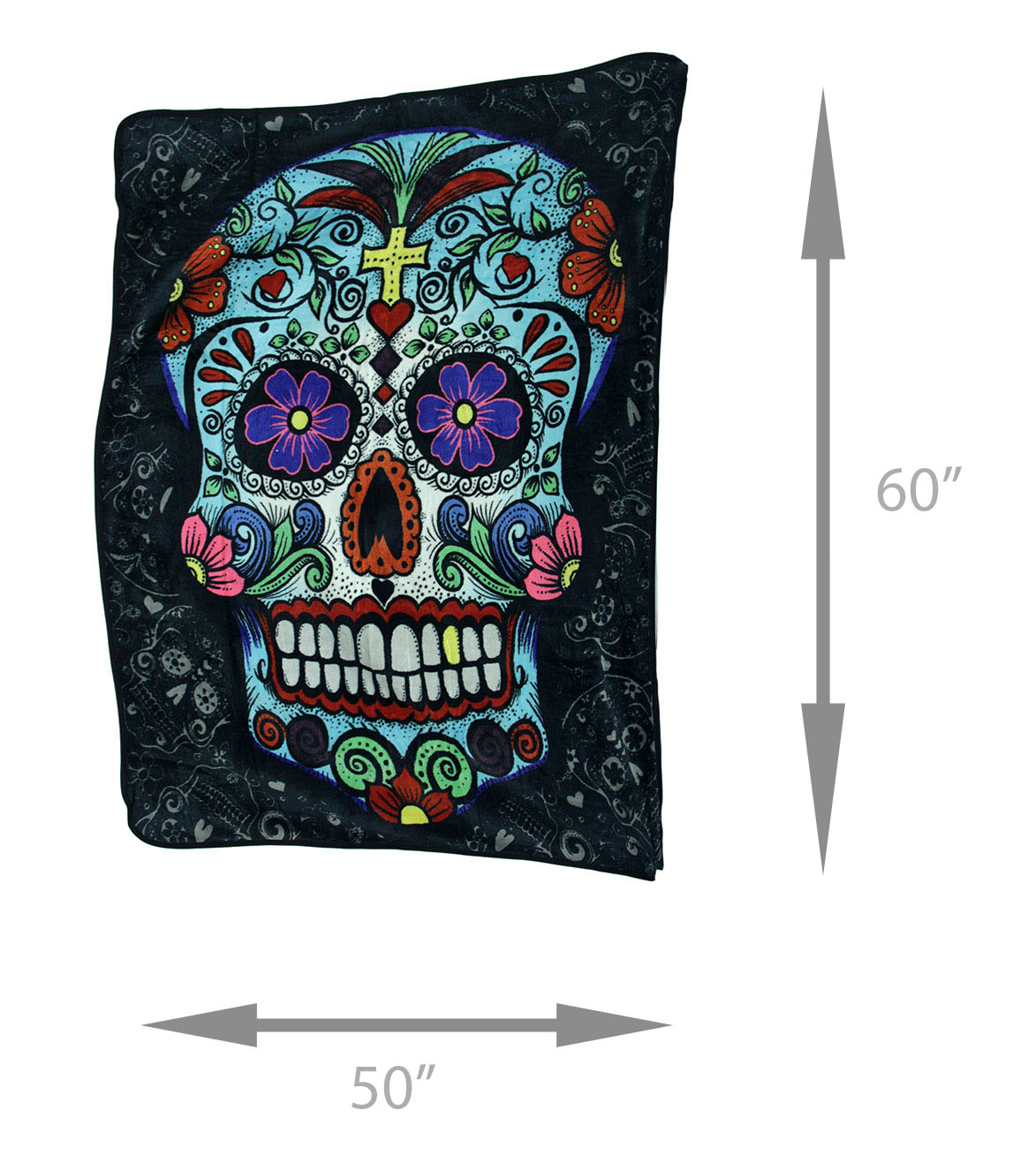 Home Furniture Diy Throws New Day Of The Dead Colorful Sugar Skull Plush Polyester Throw Blanket 50