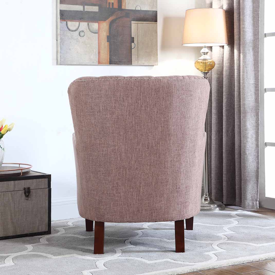 What Is A Good Accent Color For Brown Button Tufted Accent Chair With Nailhead Brown Color