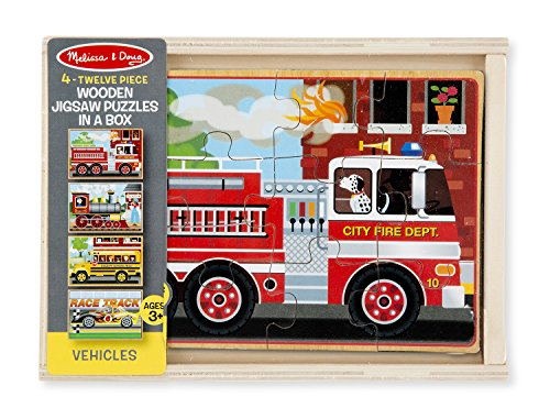 Melissa Doug Vehicles 4 In 1 Wooden Jigsaw Puzzles In A