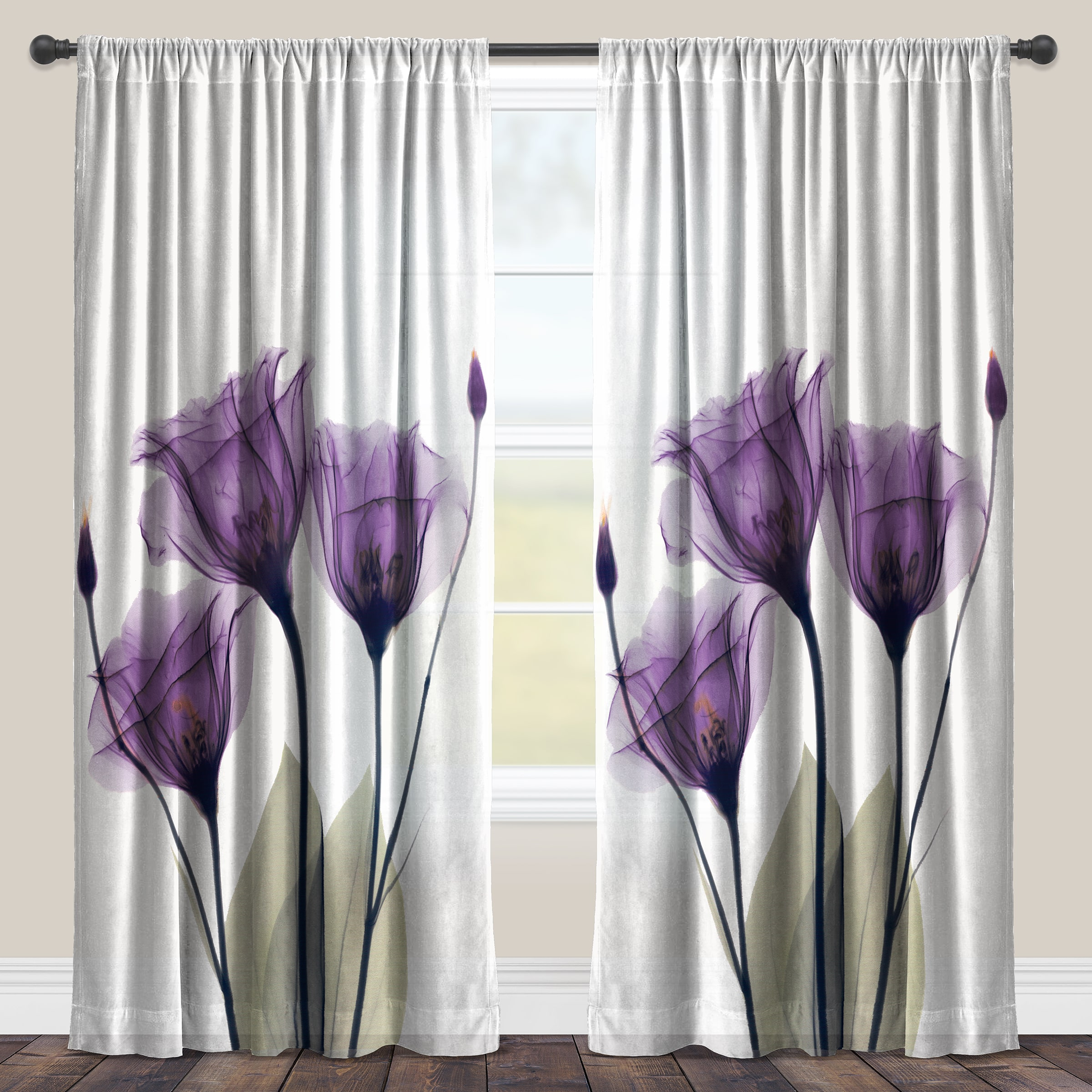 Lavender Sheer Curtains Laural Home Lavender Floral X Ray Sheer Curtain Panel Single Panel