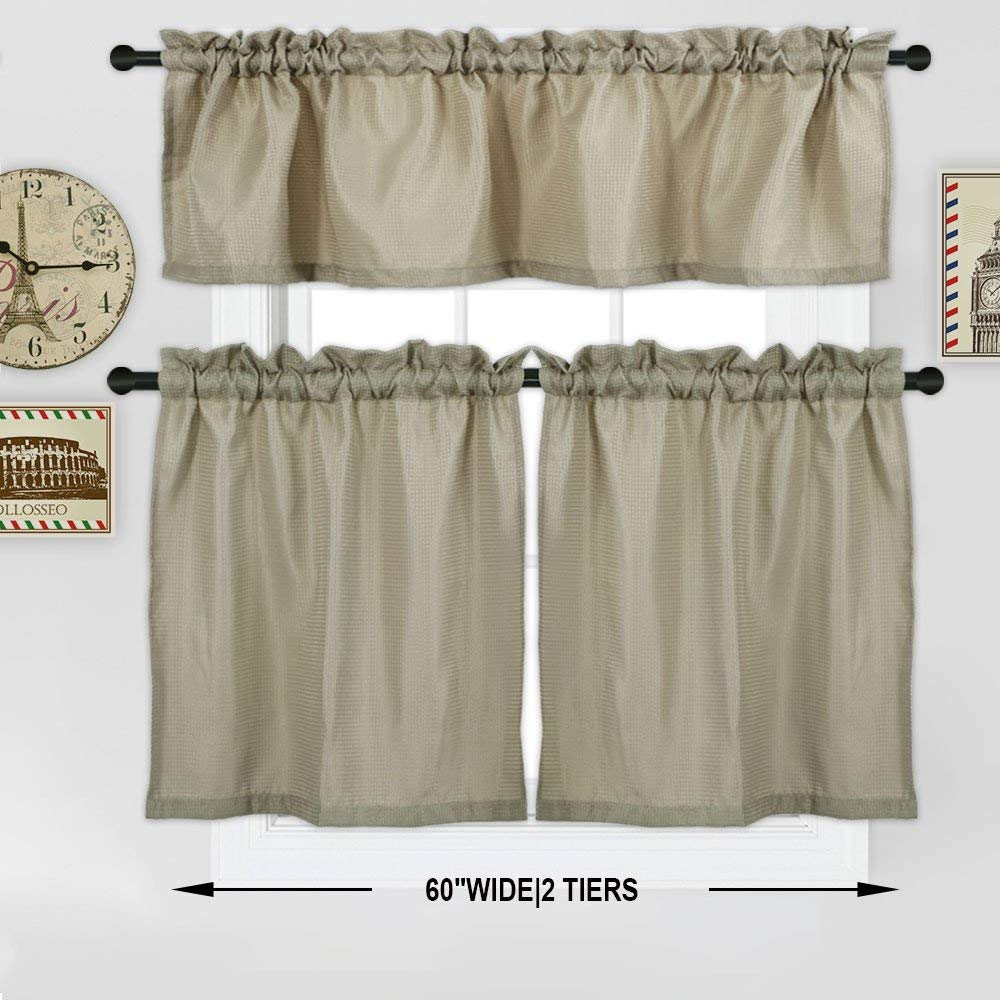 24 Inch Kitchen Curtains Waffle Kitchen Tier Curtains Short Length Water Repellent Rod Pocket Half Window Covering Curtain For Bathroom Bedroom 30 24inch 30 36inch 1 Pair