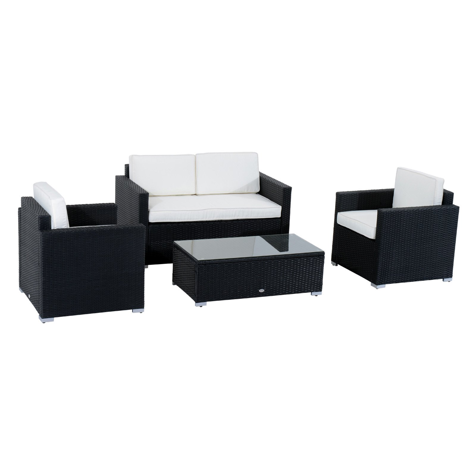 Sofa Rattan Outsunny 4 Piece Cushioned Outdoor Rattan Wicker Sofa Sectional Patio Furniture Set