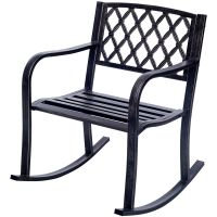 Gymax Metal Rocking Chair Porch Seat Deck Patio Outdoor ...