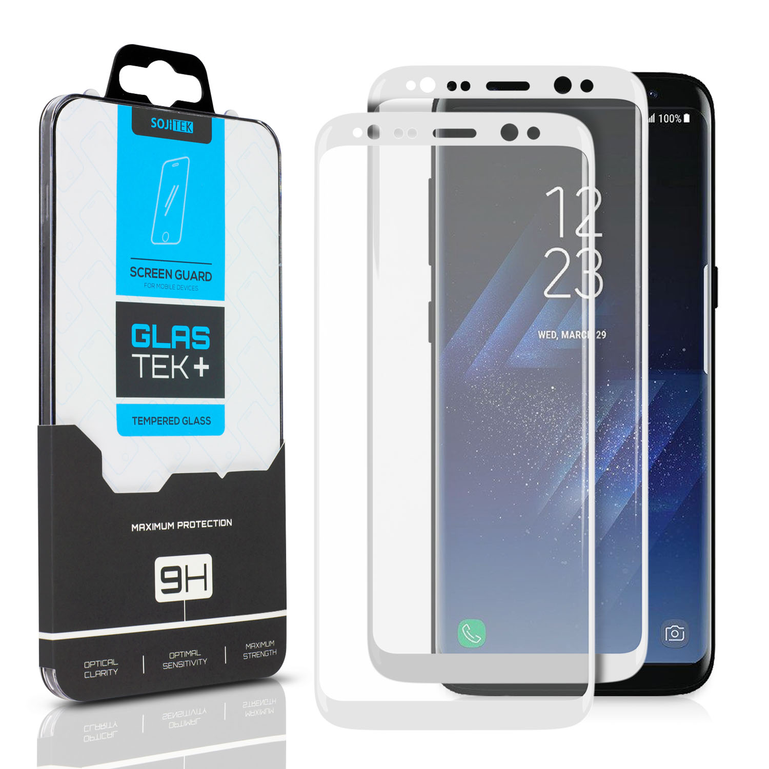 S8 Glas Sojitek Samsung Galaxy S8 Plus Screen Protector 2 Pack Full Coverage 3d Tempered Glass Sticking Well To Sides No Losing Adhesive Side Ultra