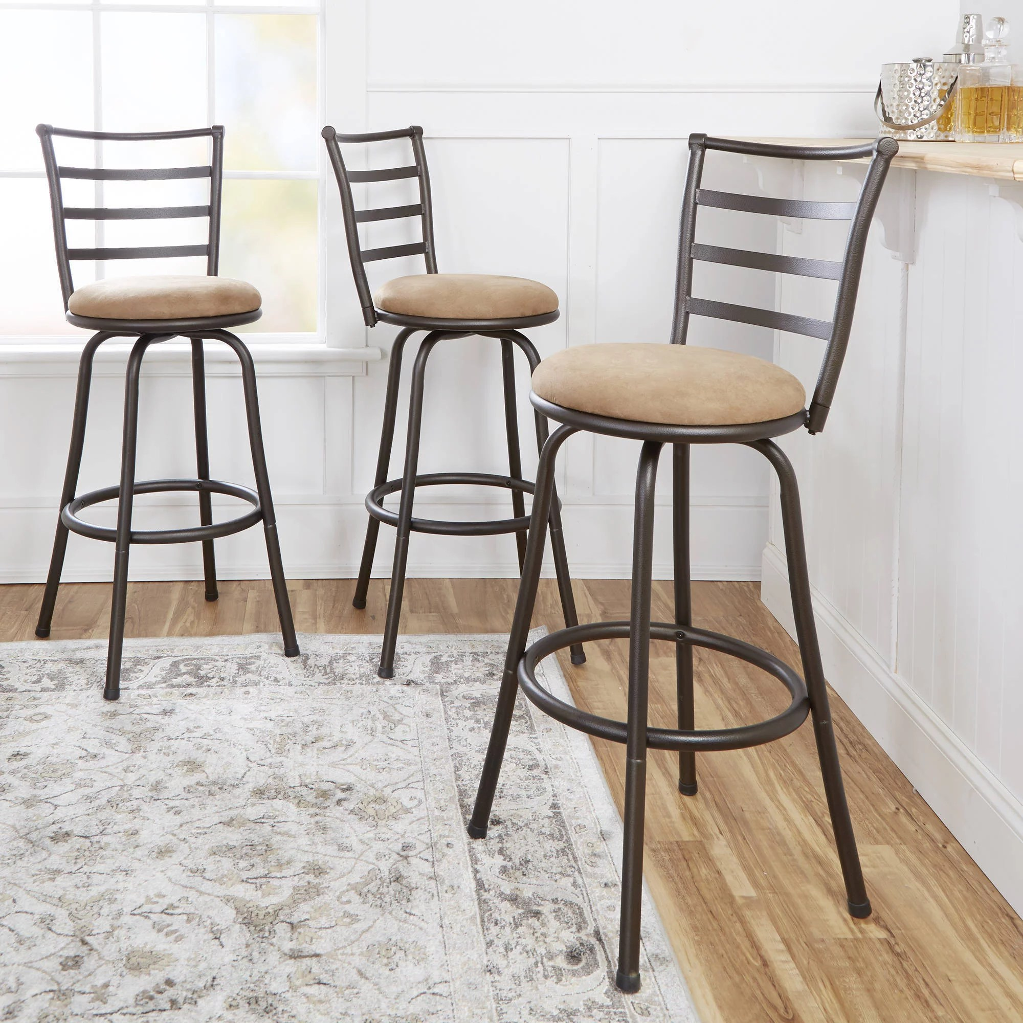 28 Barstools Mainstays Adjustable Height Swivel Barstool Hammered Bronze Finish Set Of 3