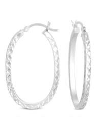 ONLINE - Diamond Cut Square Tube Large Hoop Earrings in ...
