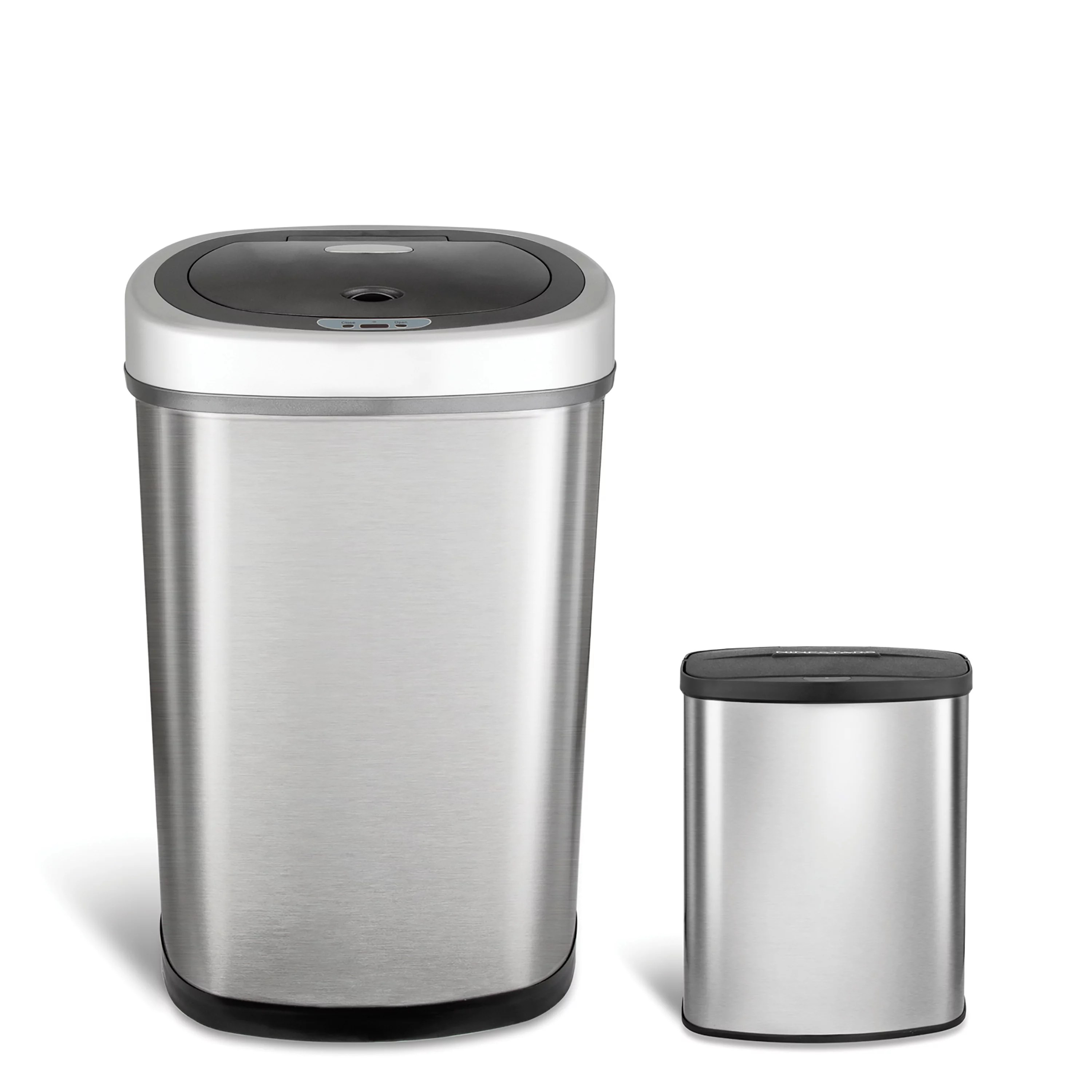 Small White Trash Can With Lid Nine Stars Motion Sensor Touchless 13 2 Gal 2 1 Gal Trash Can Combo Stainless Steel