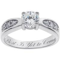 Personalized Sterling Silver Cubic Zirconia Promise Ring ...