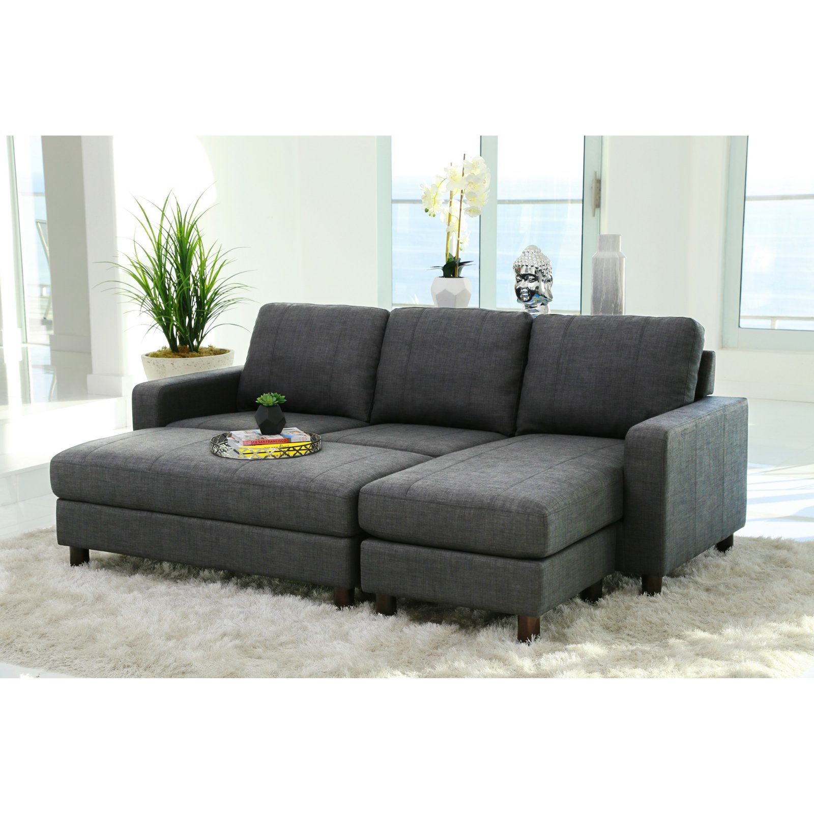 Abbyson Stanford Fabric Reversible Sectional Sofa With Storage Ottoman Walmart Com Walmart Com