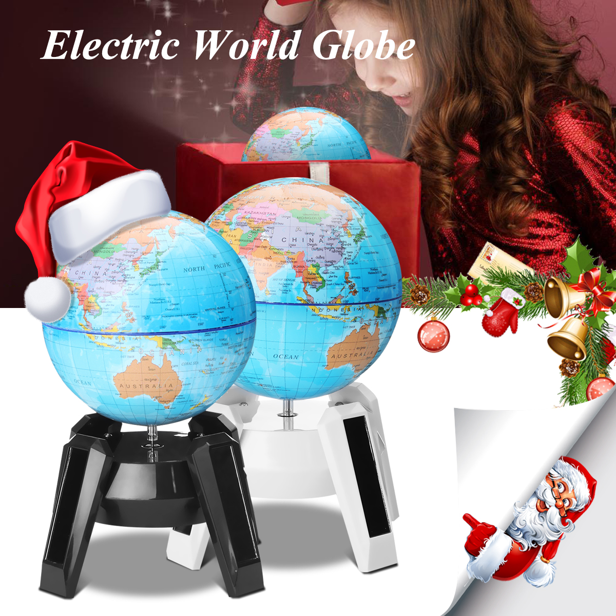 Atlas Decoration Solar Power World Globe Led Rotating Swivel Map Of Earth Atlas Geography Desktop Political Globe Home Decoration Christmas Gift Kid Education