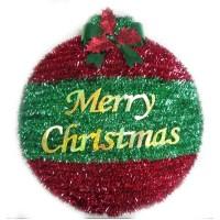 "18"" 2D Round Tinsel Ornament Wreath Decoration - Walmart.com"